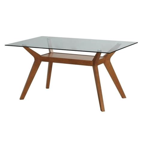coaster glass top dining table in nutmeg 122171 cb60rt kit