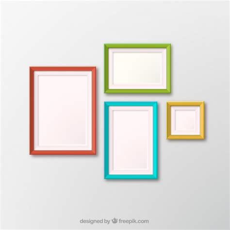 colored picture frames four colored photo frames vector free