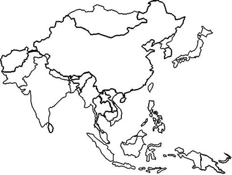 coloring page map of asia east asia in world map coloring page download print