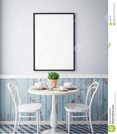 Blue And Brown Bedroom mock up poster with vintage hipster cafe restaurant