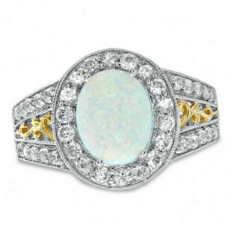 oval lab created opal and white sapphire ring in sterling