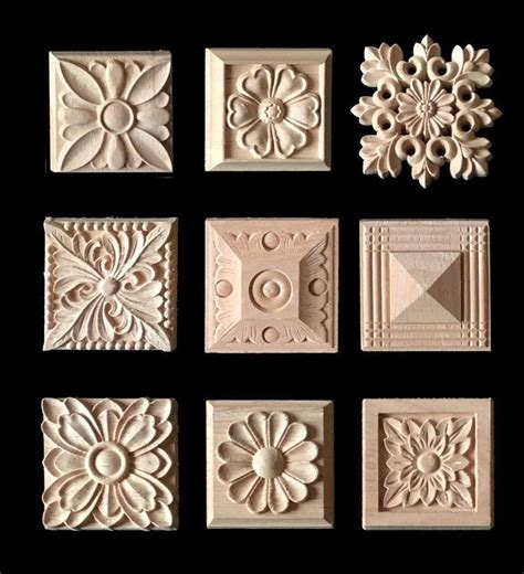 home decoration pieces wood carving applique 8 pieces furniture cabinet door