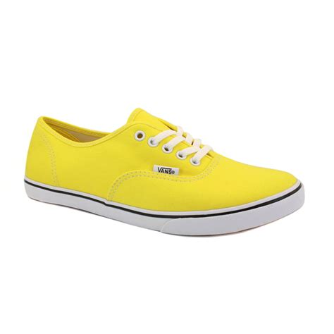 yellow shoes vans authentic lo pro qes7z4 womens canvas laced trainers