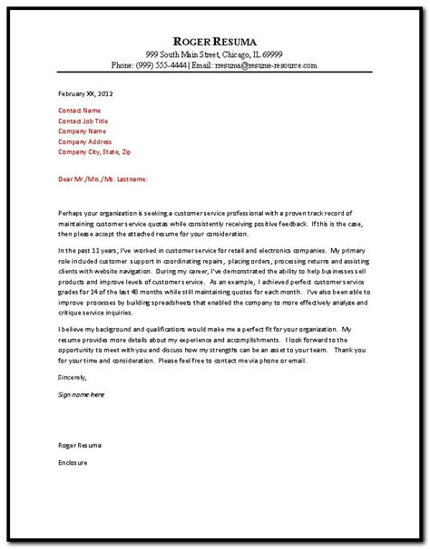 Resume Letter Exles by Resume Cover Letter Customer Service 28 Images 6