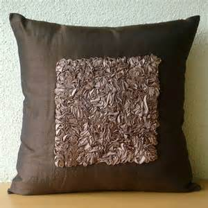 Throw Pillows For Brown Sofa Decorative Throw Pillow Covers 16x16 Brown Silk Ribbon Embroidered Pillow Covers Accent Pillows