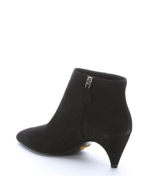 prada black suede kitten heel ankle boots in black lyst