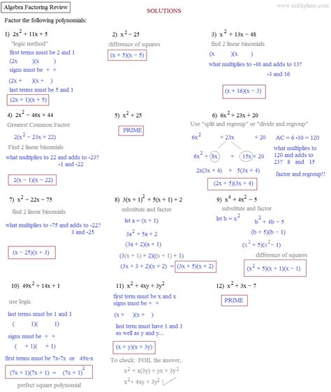 Algebra 2 Factoring Review Worksheet Answers by Math Plane Factoring Quadratics