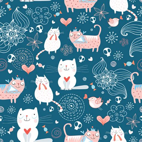 cute pattern cats funny cat pattern vector 01 free download