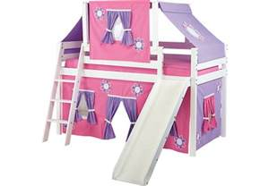 pink cottage white jr tent loft bed with slide and top