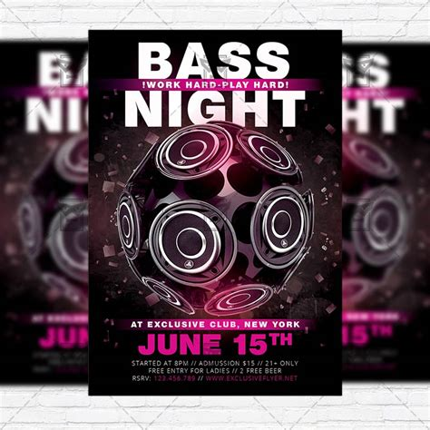 Bass Night Premium Flyer Template Instagram Size Flyer Exclsiveflyer Free And Premium Instagram Ad Template Psd