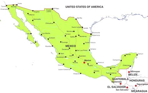 map of mexico states and cities map of united states and mexico with cities travel maps