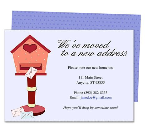 moving home cards template moving announcements and new address announcement