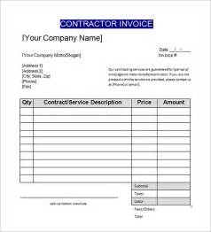 Contractors Invoice Template by Sle Contractor Invoice Templates 14 Free Documents