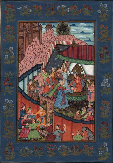 Paintings Handmade - mughal empire baburnama miniature handmade moghul