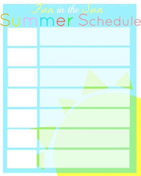 summer c schedule template summer schedule printable city of creative dreams