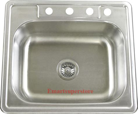 stainless steel kitchen sinks top mount 25 quot stainless steel top mount drop in kitchen sink ebay