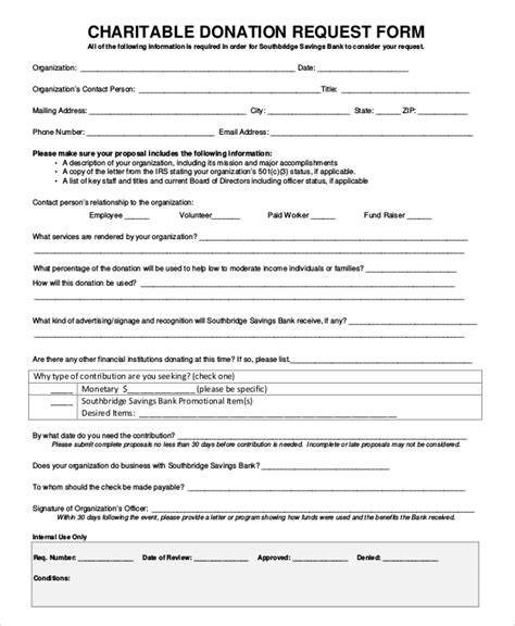10 Sle Donation Request Forms Pdf Word Sle Templates In Donation Form Template