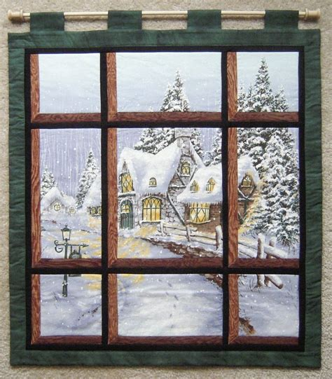 quilt pattern windowpane attic window snowy chateau panel quilts pinterest