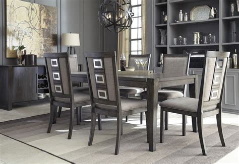 chadoni gray rectangular extendable dining room set from coleman furniture