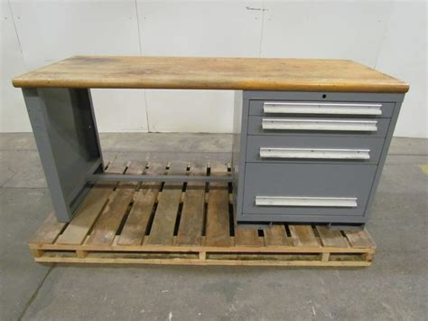 butcher block bench butcher block top workbench table desk 4 drawer steel