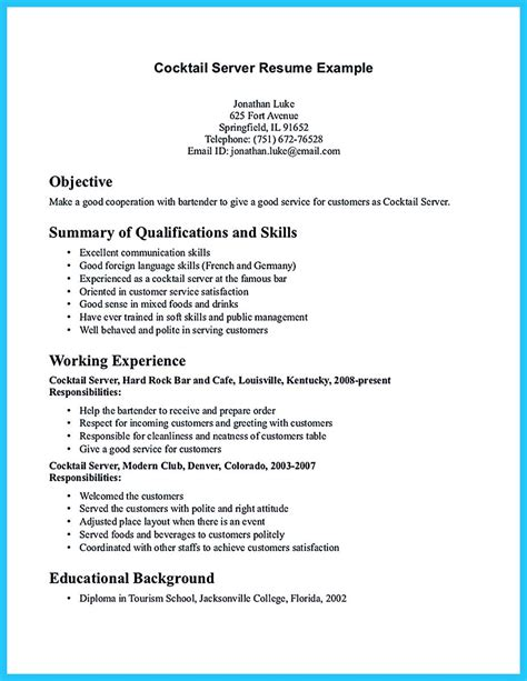 outstanding details you must put in your awesome bartending resume bartender resume tomyumtumweb