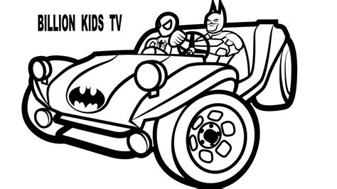 batman car drawing buggy coloring pages colors with superheroes spiderman and