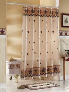 Country Bath Shower Curtain country stars amp hearts bathroom shower curtain primitive
