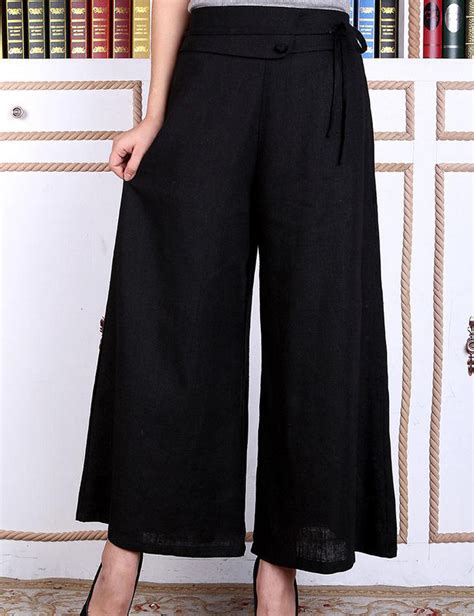Black Slit Wide Leg Trousers Size M L black cotton linen wide leg pant