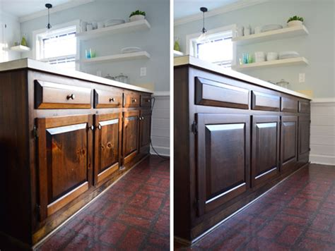 How To Restain Kitchen Cabinets Darker How To Stain Cabinets A Darker Less Orangey Color Used Minwax Polyshades Stain In Tudor Satin