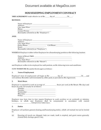 housekeeper contract template housekeeping employment contract for resort forms and business templates megadox