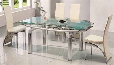 Glass Top Dining Table For 6 Stainless Steel Dining Table For 6 With Glass Top With White Dining Chairs In Modern Small Space