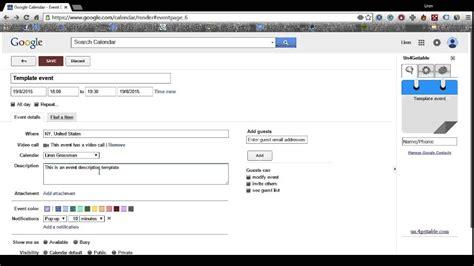 create google calendar event template youtube