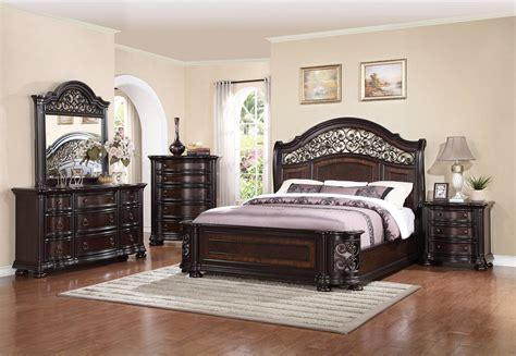 wood and metal bedroom sets allison wrought iron and wood king sleigh bed in brown