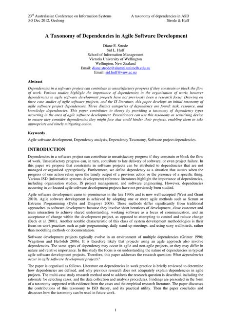 agile software development research papers a taxonomy of dependencies in agile pdf