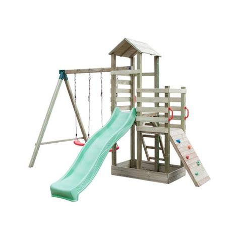 aire de jeux balancoire toboggan aire de jeux en bois avec 2 balan 231 oires 1 toboggan 1 mur