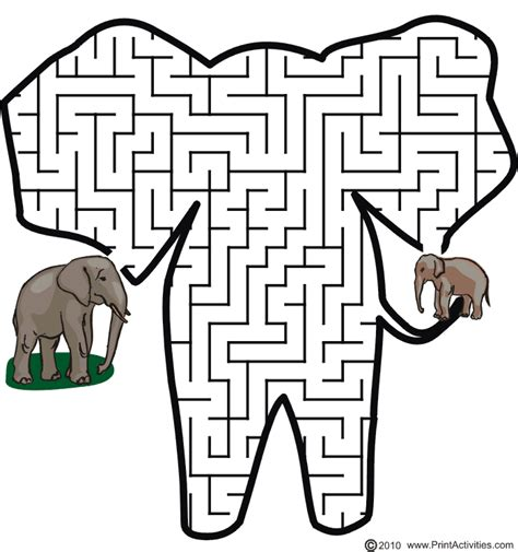 Animal Maze by Elephant Maze Shaped Like An Elephant