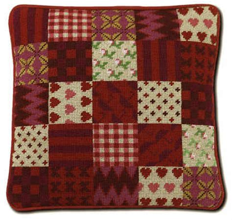 Patchwork Kits Uk - modern patchwork tapestry cushion kit gingham and hearts