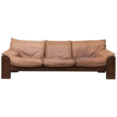 Buffalo Leather Sofa by 1970s Buffalo Leather Three Seat Sofa At 1stdibs