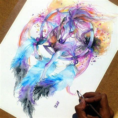 watercolor tattoo dreamcatcher facegram io reza luqman indonesia catcher