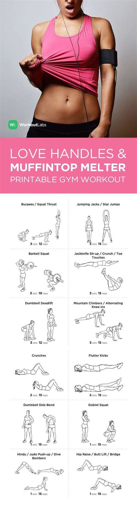 10 Top Exercises For Losing With 2 Bonus Exercises by Handles Muffin Top Melter Printable And Workout