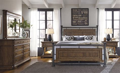 metal bed set reddington wood and metal bedroom set by pulaski furniture