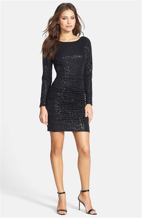 knit black dress aidan mattox aidan by ruched sequin knit dress in black lyst