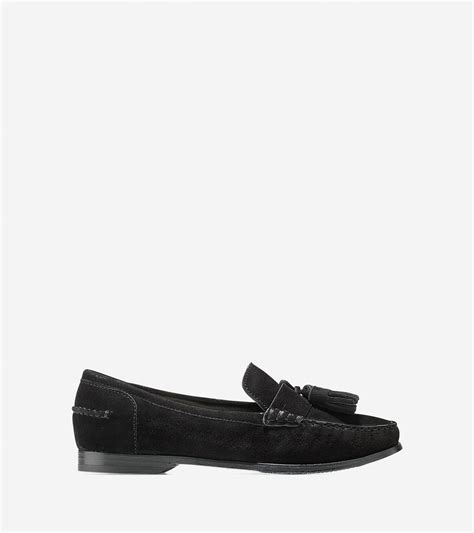 womens loafers with tassels cole haan s pinch grand tassel loafer in black lyst