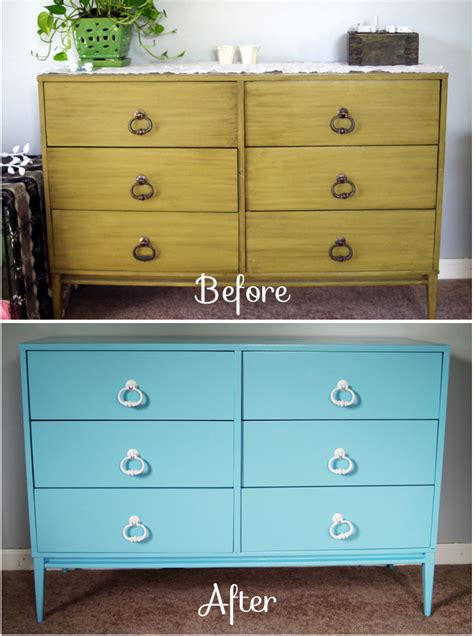 painting bedroom furniture before and after it s amazing what a coat of paint can do our dresser