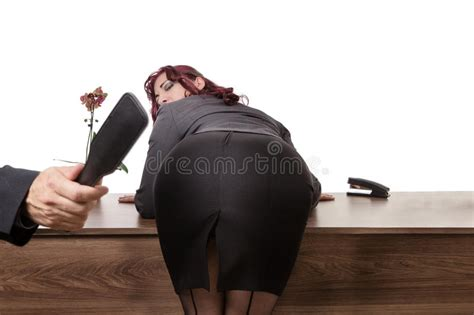 secretary bent over her desk the boss at work stock image image of masochism