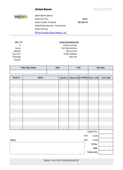 Accommodation Receipt Template by Printed Hotel Receipt Template Recipes To Cook