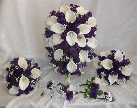 Wedding Bouquet Sets by Wedding Flowers Set Purple Lapis Calla Lilies