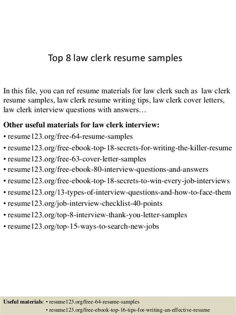Law Clerk Resume Sample by Top 8 Law Clerk Resume Samples