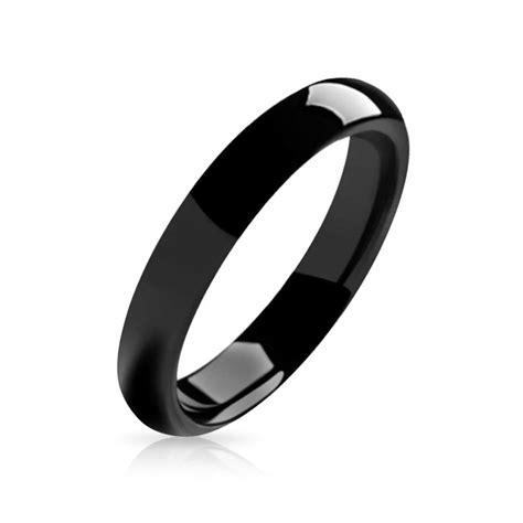black ring black tungsten unisex ring 4mm