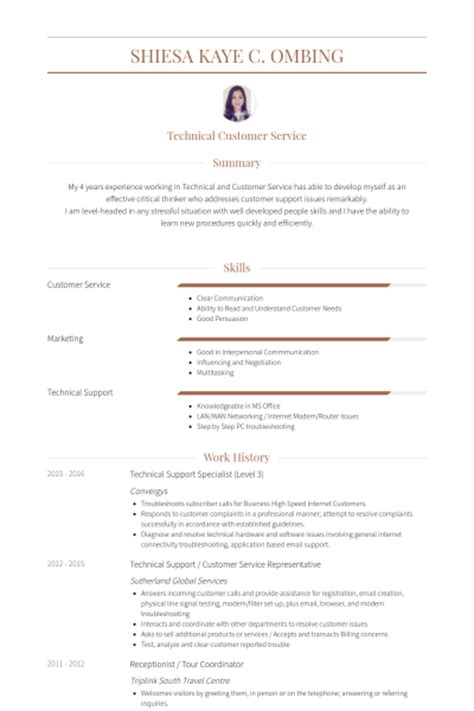 Technical Support Resume by Technical Support Specialist Resume Sles Visualcv